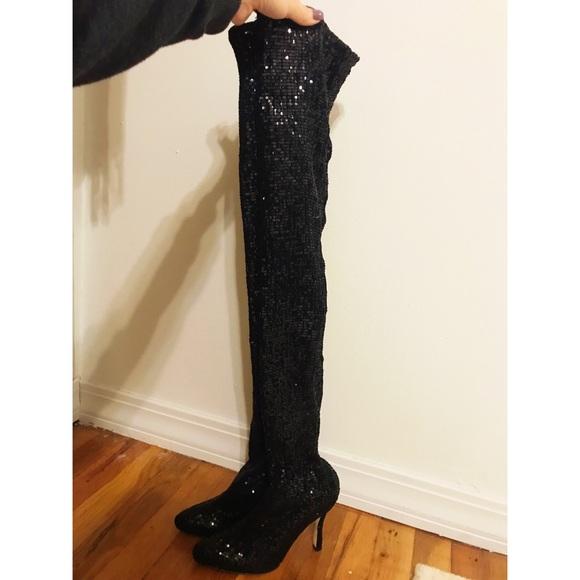 Manolo Blahnik Sequin Thigh High Boots